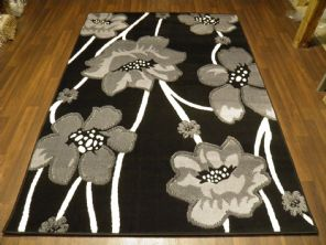 Modern 7x5ft 150x210cm Woven Backed Poppy Rugs Top Quality Grey/Black BARGAINS
